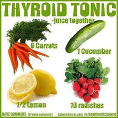 "Thyroid Tonic Recipe: 6 carrots, 1 cucumber, 10 radishes, 1/2 lemon Radishes contain a substance called Raphanin. This is what Wikipedia says about Raphanin... ""Given that Raphanin can be chiefly responsible for keeping the production of thyroxine and calcitonin in normal balance, in Russia, radishes have long been used for treating both types of thyroid problems."""