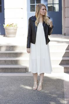 How to transition a summer dress into fall fashion.