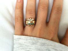 Artemer Studio Gold Horseshoe Diamond Ring, Trillion Diamond Ring & Turquoise Engagement and Wedding Ring Stack