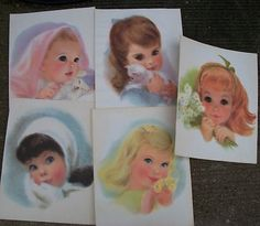 Five Vintage Northern Tissue Prints of Little Girls In Original Mailer  I had these hanging in my room as a young girl!  I wonder if my mom still has them?