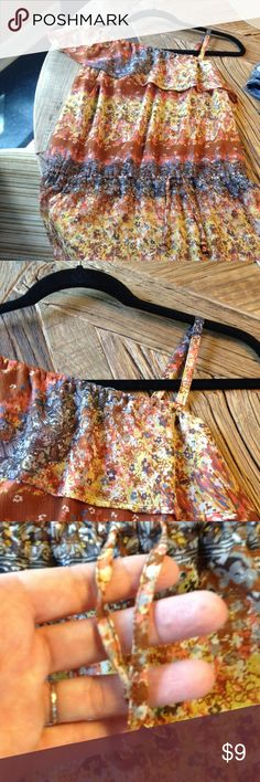 American Rag Semi Sheer Top, Size Small Beautiful & Feminine Semi Sheer Top From American Rag, 100% Polyester, multi color floral pattern.  Waist has adjustable pretty tie detail for an easy fit. American Rag Tops