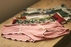 """Making underwear is a way to use up scraps of cute knit fabrics that are too big to throw away, but too small to really make anything out of. You can piece together undies from scraps of different colors or patterns to use up any fragment, however small."""