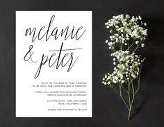 Calligraphy Minimal Wedding Invitation by AlexaNelsonPrints
