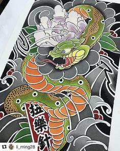 one picture/one artistはInstagramを利用しています:「#Repost @li_ming28 🙏🙏 #irezumi #tattoo #tattoosketch #japanesetattoo #japanesetattoodesign #wabori #tattoodesign #horimono…」 Japanese Snake Tattoo, Japanese Tattoo Symbols, Japanese Dragon Tattoos, Japanese Tattoo Designs, Traditional Tattoo Design, Traditional Japanese Tattoos, Face Painting Tutorials, Face Painting Designs, Cobra Tattoo