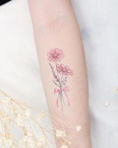 Dainty tattoos, pretty tattoos, small tattoos, name flower tattoo, girl arm Name Flower Tattoo, Tiny Flower Tattoos, Small Butterfly Tattoo, Flower Tattoo Shoulder, Dainty Tattoos, Flower Tattoo Designs, Pretty Tattoos, Tattoo Designs For Women, Mini Tattoos