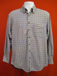 702210392a37 ORVIS Signature Collection Blue Brown Check Plaid Long Sleeve Shirt Men  Size M… Signature Collection