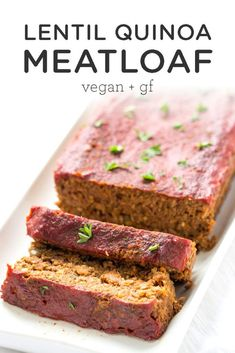 The BEST vegan lentil meatloaf recipe made with lentils, quinoa, mushrooms, and walnuts, topped with a healthy tomato and maple syrup glaze. This homemade vegetarian, plant-based and gluten-free dinner idea tastes just as delicious as the classic!