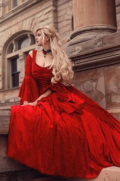 In Stock Sale Red Velvet Gwendolyn Medieval or by RomanticThreads