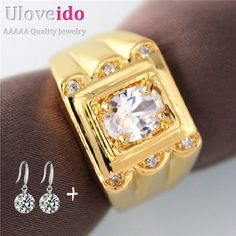 Find More Rings Information about Uloveido Vintage Engagement Ring Man Gold Plated Luxury Men's Ring Wedding Rings for Men Jewelry Bijouterie Anelli 15% Off J003,High Quality engagement ring men,China engagement ring Suppliers, Cheap wedding rings from D&C Fashion Jewelry Buy to Get a Free Gift on Aliexpress.com