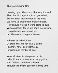 """this lunar beauty auden Wystan hugh auden was an english poet, often cited as one of the most  love  poems: including """"this lunar beauty"""" """"lay your sleeping head,."""