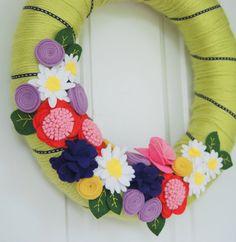 Spring Felt Wreath Colorful Felt Flower Wreath by CuriousBloom