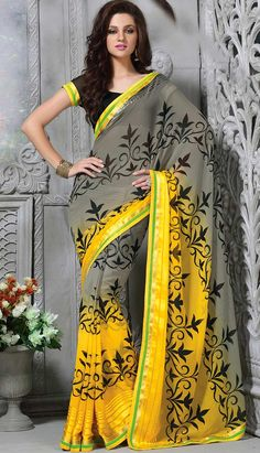 Select the Latest Traditional Ethnic Grey Georgette #CasualSaree Online  #Price INR- 2131 Link- http://alturl.com/53s4a
