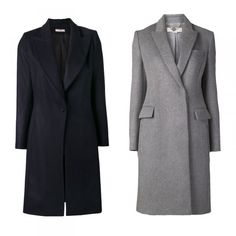 Latest Styles: Fall Outerwear Tips From The Experts | The Zoe Report=Sleek & Chic- wide Lapel Peacoat, Bouchra Jarrar $2370, Coat with Side Zip Pockets, Stella McCartney $2070