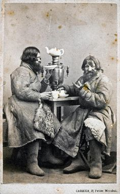Russian people on photo from 19th century   That cabman got his buddy to join him on the tea break