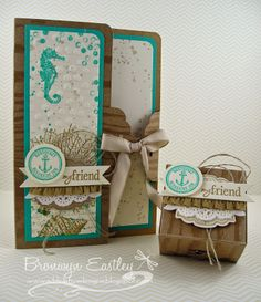 """Stamp Sets:  By the Tide, Gorgeous Grunge, Happy Watercolour, Six-Sided Sampler, Label Love Ink:  Bermuda Bay, Baked Brown Sugar, Crumb Cake Card Stock:  Natural Composition Specialty DSP, Bermuda Bay, Very Vanilla Accessories:  Scalloped Tag Topper Punch, Artisan Label Punch, 1"""" Circle Punch, Corner Rounder Punch, Bitty Banners Die, Tea Lace Doily, BBB Ruffle Stretch Trim, Natural Linen Thread, Crumb Cake Taffeta Ribbon, Decorative Dots Embossing Folder, Vintage Trinkets, Dimensionals"""