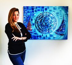 Local miami artist Laelanie Larach, Miami based artist, Honduran artist of abstract paintings and nautical fine art in Miami.