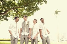 Like the relaxed atmosphere this photo creates with the groom and groomsmen.
