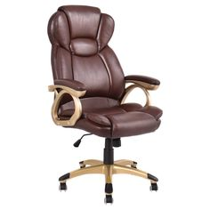 SKB Family Brown Ergonomic PU Leather High Back Executive Office Chair Workstation Durable Frame of The Gaming Chair Business Office Small Living Room Chairs, Comfortable Living Room Chairs, High Back Office Chair, Desk Office, Wooden Armchair, Outdoor Lounge Chair Cushions, Used Chairs, Executive Office Chairs, Ikea Chair