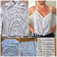 Turning a Man Shirt into a Women's Tank Top (by Karine R.) ☘️ Visit Your Art Shop – Free and Fast Shipping ✨✨✨ House wood trick received Source by Shirt Refashion, Diy Shirt, Clothes Refashion, Diy Clothing, Sewing Clothes, Diy Kleidung Upcycling, Umgestaltete Shirts, Refashioning, Dressmaking