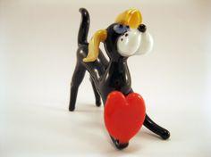 Blown Glass Dog Miniature Sculpture Figurine by masterglass1