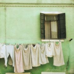 Laundry day, 8x8 fine art photograph, travel photography, house in the island of Burano, Italy