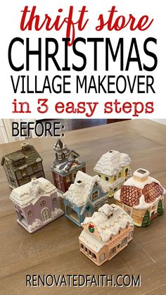"""You won't believe the after photo!  This easy step-by-step tutorial and video shows you how to give your Christmas village or nativity scene display a makeover with paint and a little clear glitter. This vintage village makeover can also work on a nativity set, no matter the colors.  Included are display ideas to give it a """"wood and white"""" look. Thrifted Christmas Village Makeover Makeover.  Dollar Store Elegant Christmas Decor, Simple Christmas, Christmas Tree Decorations, Christmas Diy, Christmas Crafts For Adults, Xmas Crafts, White Nativity Set, Spray Painting Glass, Winter Wonderland Decorations"""