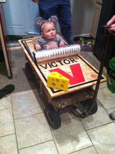 My cousin made his baby a costume for his first trick-or-treat.