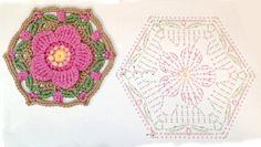 hexagon motif crochet flower