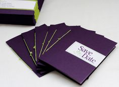 Modern Purple and Green Wedding Save the Date Booklet | Oh So Beautiful Paper