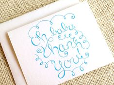 Items similar to Set of 10 Baby Boy Thank You Cards - Hand Drawn Baby Shower Thank You Notes in Blue - Oh Baby Thank You Simple Whimsical Cards w/ Envelopes on Etsy Baby Thank You Cards, Happy Design, Keep It Simple, New Baby Gifts, New Baby Products, How To Draw Hands, Baby Boy, Logo Design, Ink