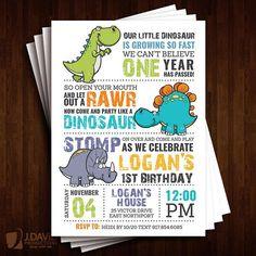 Dinosaur Birthday Invitation by JDavidProductions on Etsy Dinosaur First Birthday, One Year Birthday, Boy First Birthday, Boy Birthday Parties, Birthday Fun, Birthday Ideas, Birthday Banners, Birthday Design, Dinosaur Birthday Invitations