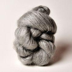 Shibui's Silk Cloud in Ash, a glistening soft mohair gray.
