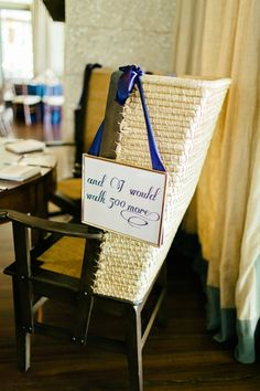 Lyrics from the couple's favorite song- great sweetheart table idea! Romantic Nautical Wedding