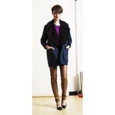 Lou Jacket in Navy Microsuede with Black Faux Fur Collar, Henri Top in Violet Cupro, Nico Legging in Tan Faux Leather