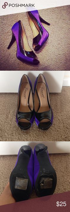 """Hollywood Glam: Purple and Black Colorblock Heels Goregous deep purple satin and faux black leather colorblock heels ('Forever Hollywood Glam' selected by Paula Abdul). Light wear but nothing noticeable while on foot.  Heel is approximately 4"""" and interior is plush and comfortable for extended wear. Paula Abdul Shoes Heels"""