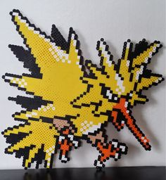 Zapdos Pokemon Perler Bead Sprite by PokemonPerlersPlus