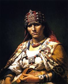 Portrait of a Kabylie Woman, Algeria Frederick Arthur Bridgman Malmo Sweden Oil Painting Reproductions 61976 Country Look, Jean Leon, Warrior Queen, Tribal Women, Portrait Images, Portraits, Oil Painting Reproductions, North Africa, Traditional Dresses