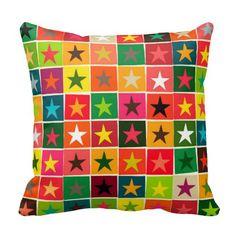 christmas boxed stars pillow #zazzle #sharonturner #scrummylicious #stars #pillow #retro #funky #festive #fall #warm #geometric