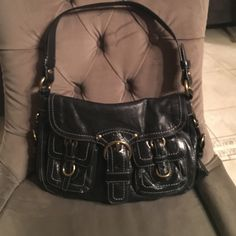 Coach designer leather handbag Black, matches with all outfits, versatile Coach Bags Shoulder Bags