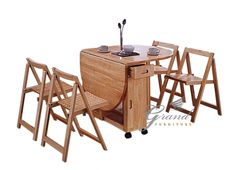 New Butterfly Drop Leaf Wooden Dining Table with Four Chairs Set Dining Room Furniture