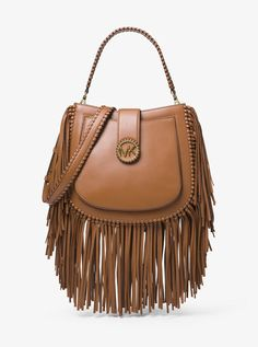 MICHAEL KORS Acorn Brown Fringed Leather Shoulder Bag NWT Sold Out!Beautiful leather Listing is for the brown bag. Mk Handbags, Cheap Handbags, Handbags Michael Kors, Purses And Handbags, Gold Handbags, Fringe Crossbody Bag, Fringe Purse, Fringe Bags, Tan Bag