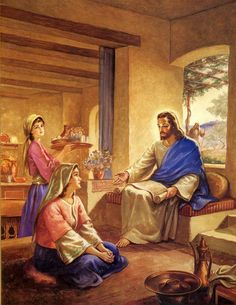"""Luke - """"And she had a sister called Mary, which also sat at Jesus' feet, and heard his word. Jesus Christ Painting, Jesus Art, Pictures Of Jesus Christ, Bible Pictures, Mary And Jesus, Jesus Is Lord, Christian Images, Christian Art, Religion"""
