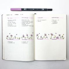 Bullet journal weekly layout, flower doodles, floral doodles, field of flowers doodles. | @ourbulletjournals