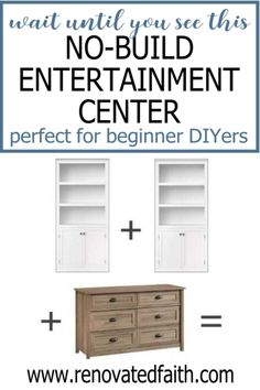 Here is a budget-friendly tutorial for a DIY Entertainment Center with bookshelves and a dresser. Plans for how to make a custom entertainment center with bookshelves without building a thing! This easy diy media center hack cheap and works with any décor – farmhouse, modern, coastal, etc. Included is how to paint a laminate entertainment center with drawers/shelves and color ideas Laminate Furniture, Furniture Projects, Furniture Makeover, Diy Furniture, Distressed Furniture, Farmhouse Furniture, Diy Décoration, Easy Diy, Home Renovation