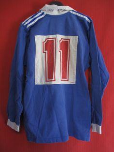 Maillot Rugby Vintage Adidas Trefoil Bleu Ancien Porté N° 11 M | eBay