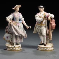 Pair of Meissen Porcelain Gardener Figures, Germany, late 19th century, each standing figure gilded and polychrome enamel decorated, the man leaning on a shovel and holding a bouquet of flowers, the woman supporting a basket of flowers and holding a garden implement.