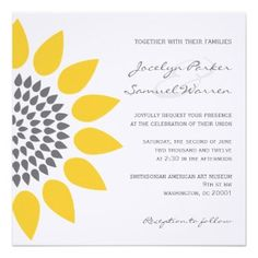 Elegant Sunflower Wedding Invitations. This beautiful sunflower invitation is perfect for a spring or summer wedding! The yellow and gray sunflower is stylish, modern and whimsical. This design is on a range of wedding stationery.