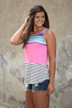 538efff5f9421d Pink Striped Embroidered Tank Top – The Pulse Boutique Autumn Clothes