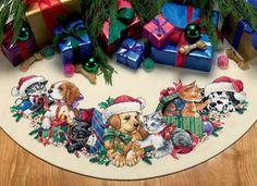 Cross-stitch Christmas Kitties & Puppies Tree Skirt, part 1/11 .. Gallery.ru / Дим перевод в дмс - Без названия - zozo7777
