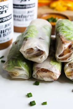 Delicious summer spring rolls filled with tofu, rice, peppers and lettuce. #summer #spring #rolls #Vietnamese #appetiser #snack #delicious